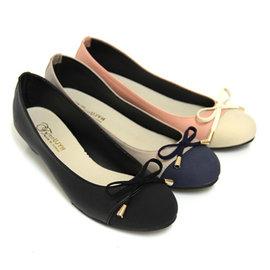 甜美簡約蝴蝶結拼接低跟包鞋
