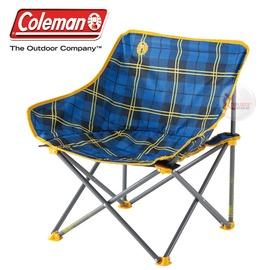 探險家戶外用品㊣CM-23170 美國Coleman 輕鬆椅/格子花 盤腿椅月亮椅休閒椅露營椅折疊椅