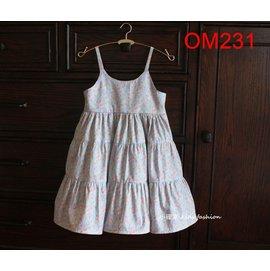 小確幸OM231 款碎花吊帶裙淡雅藍細肩背釦傘裙超浪漫唯美哈潑款 碎花控的最愛