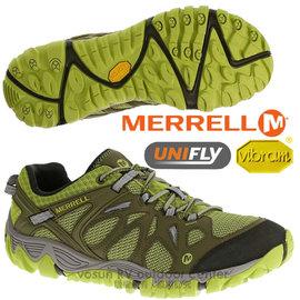 【美國 MERRELL】男鞋 ALL OUT BLAZE AERO SPORT 水陸兩用運動鞋/輕量.適健走.溯溪.慢跑.Vibram大底_墨綠/綠 J65099