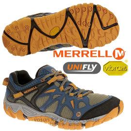 【美國 MERRELL】男鞋 ALL OUT BLAZE AERO SPORT 水陸兩用運動鞋/輕量.適健走.溯溪.慢跑.Vibram大底_藍/橙 J65101
