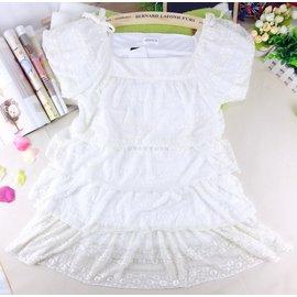 ^~零碼150cm^~ ATTENTION女童白色蕾絲短袖 蛋糕裙長版上衣 大童 節慶服
