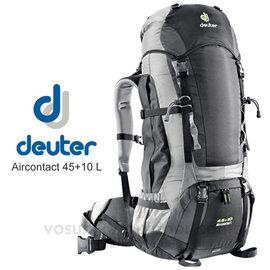 【德國 Deuter】Aircontact 45L+10L/+5L 拔熱式透氣背包.健行登山背包.自助旅行背包.大背包_黑/灰 33429