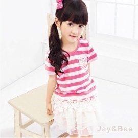 ~捷比 ~wonBoRn~JW551023~甜美蕾絲貼花網織花朵下擺條紋上衣