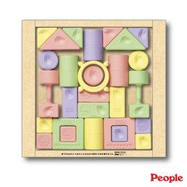【紫貝殼】『PEOPLE09-2』日本 People 彩色米的積木組合(總共28個)(米做的積木~淡淡米香安全可食高科技)【親子討論區/艾莉絲推薦】
