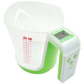 日本 DRETEC 法蕾娜 量杯造型 廚房電子料理秤-綠色 CS-100GN