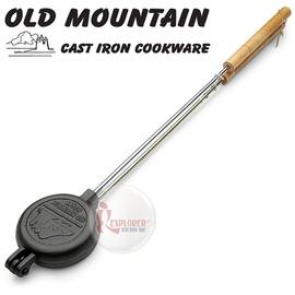 探險家戶外用品㊣10155 RP 美國Old Mountain 鑄鐵圓派餅燒烤器 烤模 鑄鐵烤具 烤盤 烤架(可搭配焚火台用)