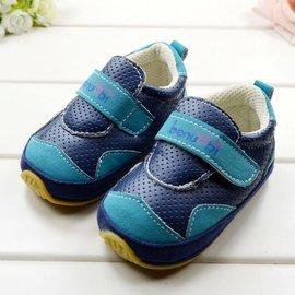 ^~^~阿布 ^~^~~TV4~外貿寶寶鞋 深藍色雙粘貼軟膠底休閒學步鞋 螃蟹車鞋10 1
