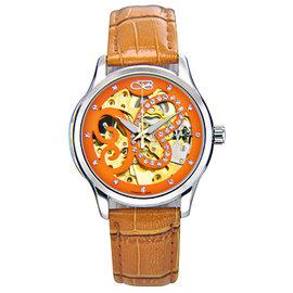 ~BOUTTE~璀璨蝶舞 鏤空機械腕錶^(白鋼錶徑36mm 駝色皮帶 蝴蝶扣^)