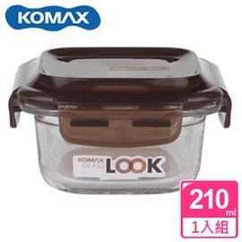 KOMAX 巧克力方形強化玻璃保鮮盒210ml(59070)【AE02249】
