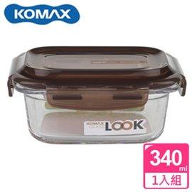 KOMAX 巧克力長形強化玻璃保鮮盒340ml(59074)【AE02250】