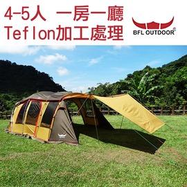 探險家露營帳篷㊣TE1404 韓國BUFFALO 4-5人帳篷 一房一廳 網屋 隧道帳 客廳帳