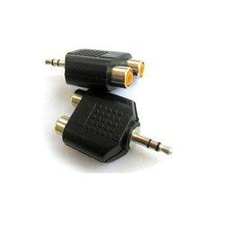 3.5mm(公)轉2AV(母) 一分二/1公轉2母 RCA AV端子轉接頭/蓮花頭/音源頭/音頻頭 **單顆**