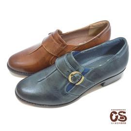 ~CS鞋包e舖~春夏側邊伸縮帶皮帶扣環真皮鞋 休閒低跟牛皮鞋 ^(棕色 藍黑色^)^~^~