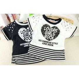 ^~短袖^~ NEO FACTORY愛心條紋反折袖短版上衣2色 T恤 女童 4~12個月