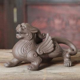 5Cgo~ 七天交貨~ 41415287240 紫砂貔貅陶泥茶寵招財進寶擺件茶道茶具 雕刻