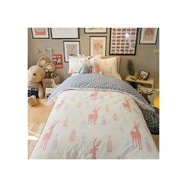 Deer and Beer 藍色星星 雙人加大床包3件組 舒適磨毛布