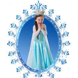 冰雪奇緣Frozen艾莎長披風裙子珠片薄網紗長袖連衣裙女童冰雪奇緣公主連身裙禮服