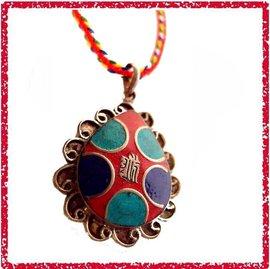 [唐古拉佛教文物批發]尼泊爾手工銅時輪金剛項鍊