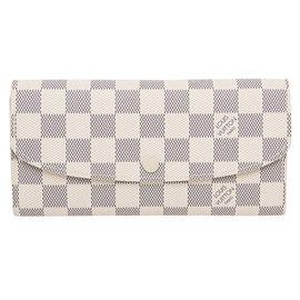 Louis Vuitton LV N63546 EMILIE 白棋盤格紋扣式零錢長夾 價