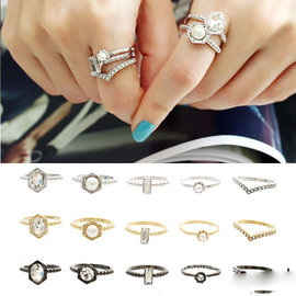 PS Mall 韓劇類似飾品 珍珠水鑽簡單極細款戒指環 五件套裝 尾戒 水鑽~G1750~