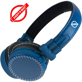 ~AndyMay2~AM~803 M100折疊式耳機麥克風~皮質~奢華藍