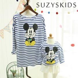 SUZY S KIDS S577 2015   迪士尼卡通米奇藍白橫條紋長袖上衣T恤 休閒