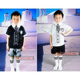 假兩件襯衫上衣 兒童西服 短袖上衣 短褲 小領帶 西裝三件組 ~P  P~B22