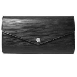 Louis Vuitton LV M60582 SARAH EPI水波紋皮革扣式長夾.黑^