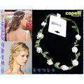 ~POLLY媽~美國capelli乳白色小玫瑰絲緞綠葉縫綴珍珠棉繩花冠髮帶USA 15.0