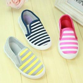 男童鞋女童鞋條紋系列帆布鞋 休閒鞋 懶人鞋內長14.5CM^~17CM^~^~紅咚咚童鞋^