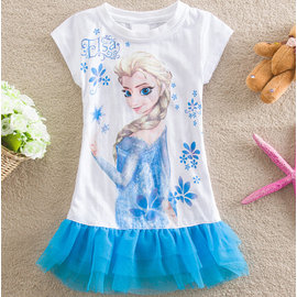 冰雪奇緣Frozen愛莎Elsa短袖拼色連衣裙禮服洋裝女孩白色印花拼接網紗裙邊連衣裙
