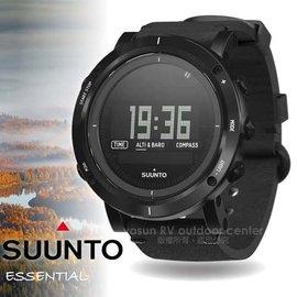 【芬蘭 SUUNTO】ESSENTIAL CARBON 延續探險系列 不鏽鋼電腦腕錶/運動登山錶.自助旅行錶.藍寶石鏡面.皮革錶帶_炭黑色