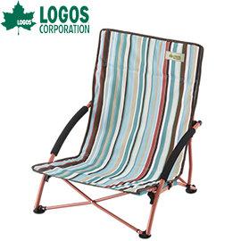 丹大戶外~LOGOS~ 條紋迷你折疊地椅 折合休閒椅 躺椅 和室椅 寵物親子椅 庭園賞花椅