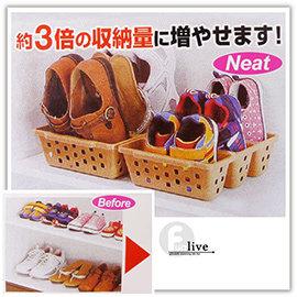 【Q禮品】A2353 三格創意鞋架/鞋子收納籃/鞋子收納盒/鞋櫃/節省空間收納/置物盒/室內拖鞋