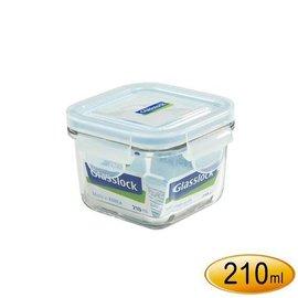~百年老店~韓國 Glasslock強化玻璃保鮮盒210ml~RP545~正方型微波便當盒