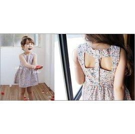 ~小阿霏~女童氣質小碎花無袖洋裝 出口韓國 精緻 夏日清涼背部鏤空 兒童連身裙 連衣裙 背