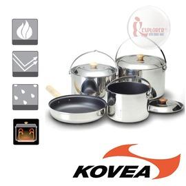 探險家戶外用品㊣KK8CW0301 韓國KOVEA SD不鏽鋼套鍋組XL(6-7人) 露營 野營鍋具 鍋子 煎盤 碗 摺疊湯杓 餐具組