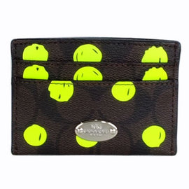 COACH 63237 深咖啡C Logo螢光綠貼飾雙面名片 票卡夾