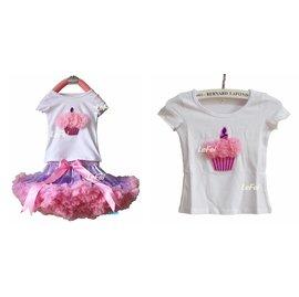 ~小阿霏~兒童女童寶寶花花T~Shirt T恤上衣 粉色蛋糕 週歲送禮生日寫真拍照畢業表演