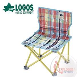探險家戶外用品㊣NO.73170037 日本品牌LOGOS 愛麗絲格紋野營椅 輕便椅 登山椅 折疊椅 兒童椅 烤肉椅