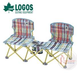 探險家戶外用品㊣NO.73170038 日本品牌LOGOS 愛麗絲格紋雙人野營椅 輕便椅 登山椅 折疊椅 兒童椅 烤肉椅