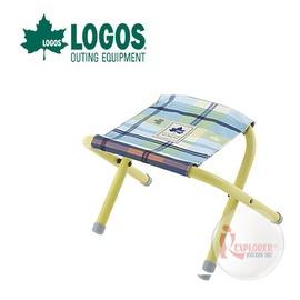 探險家戶外用品㊣NO.73175031 日本品牌LOGOS 愛麗絲迷你格紋便攜椅 藍  野營椅 輕便椅 登山椅 折疊椅