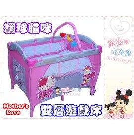 麗嬰兒童玩具館~Mother's Love 網球貓咪雙層遊戲床-兒童遊戲床全配款.附上層架遊戲架