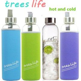 ~kelifu~日式冷熱 玻璃水瓶550mlx4入組 檸檬瓶 隨身瓶 附提把式保護套 出貨