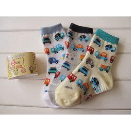 ^~^~阿布 ^~^~~Q493F~ 薄棉3色滿版車車款防滑短襪 寶寶防滑襪 襪子 網眼襪