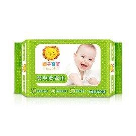 獅子寶寶嬰兒柔濕巾一般型100抽-3入
