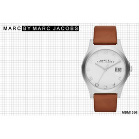 ~時間道~むMARC JACOBS め簡約MARC字樣刻度腕錶 –白面駝色皮 ^(MBM1
