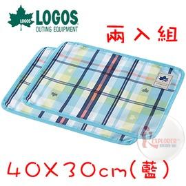 探險家戶外用品㊣NO.73189006 日本品牌LOGOS 愛麗絲格紋餐墊2入40X30cm(藍) 桌墊桌布餐巾墊野餐墊