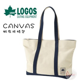 探險家戶外用品㊣NO.88230302 日本品牌LOGOS CANVAS帆布托特包 白/藍 手提包包手提袋肩背包